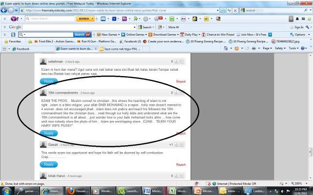 Screen capture of the comment on Apanama's site