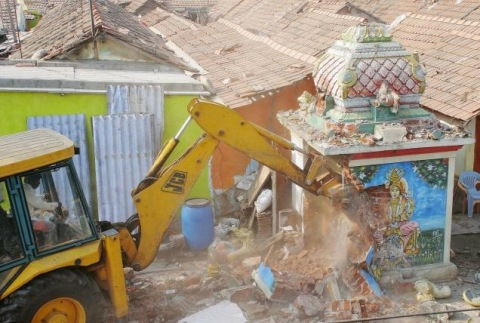 Bulldozing a Hindu altar on 4th Dec 2012