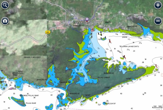 Map showing Lahad Datu and Pulau Baik