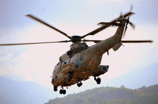 The EC725 takes off carrying critically-injured survivors during SAREX LIMA 15