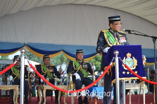 General Dato Sri Roslan bin Saad RMAF, the Chief of Air Force, delivering his speech at the Air Force Day parade at the Kuantan Air Base.
