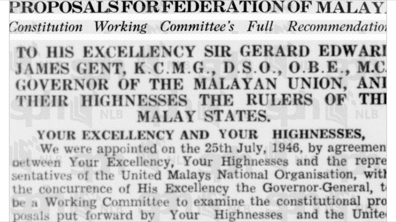 Proposals for the Federation of Malaya Agreement