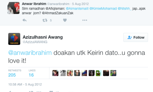 A tweet sent by Azizulhasni Awang to Anwar Ibrahim on the 5th August 2016