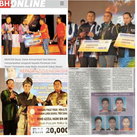 Screenshot of pictures of Azizulhasni Awang and the Terengganu Hockey Association receiving state awards