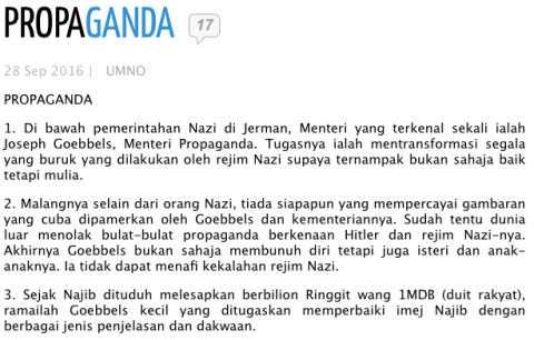 A screenshot of Mahathir's blog raising the Nazi issue while Najib Razak was in Germany