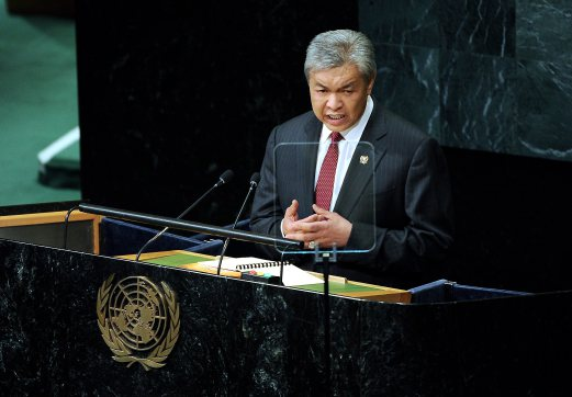 Datuk Seri Dr Ahmad Zahid Hamidi delivering his speech at the 71st UNGA in New York - photo courtesy of BERNAMA