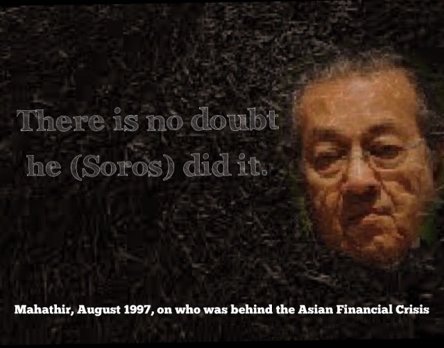 Mahathir named Soros as the person behind the currency attacks of 1997-98