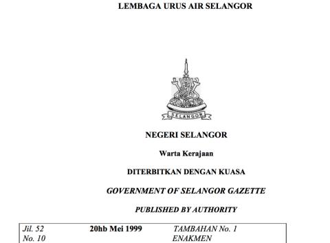 Selangor Water Management Board Enactment, 1999