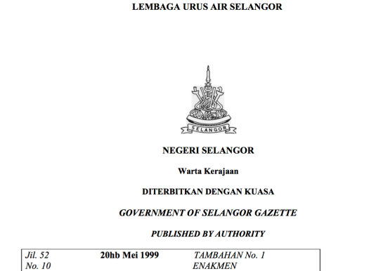 Selangor Water Management Board Enactment, 1999