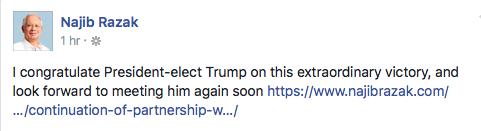 Najib Razak's looking forward to meeting Trump...again