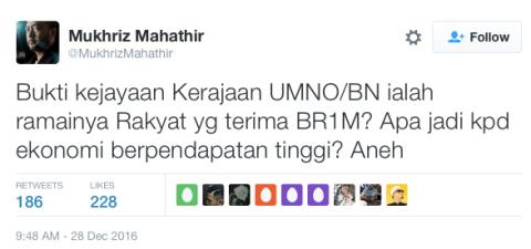 Mukhriz mempersoalkan BR1M dalam Twitternya bertarikh 28hb Disember 2016