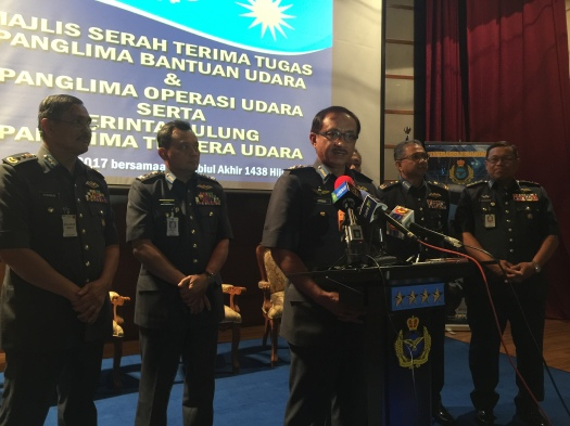 The 18th Chief of RMAF flanked by his Deputy and Commanders at a press conference after delivering his Prime Directives