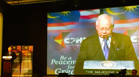 Prime Minister Najib Razak delivering his keynote address