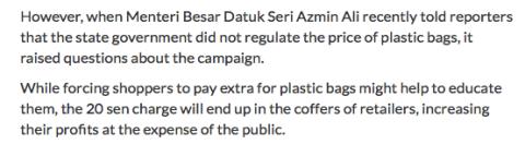 Azmin tak kata pun dia suruh kita bayar 20 sen untuk beg plastik